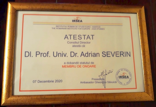 IRSEA Welcomes Prof. Universitar Dr. Adrian Severin as its Honorary Member