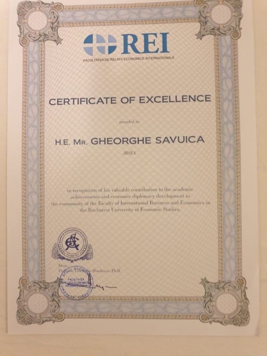 Ambassador (p) Gheorghe Săvuică, Founder and President of IRSEA, Awarded Academic Distinction by the Bucharest University of Economic Studies (ASE)