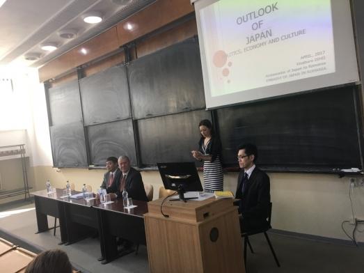 Prelegerea ambasadorului Japoniei la București, susținută în cadrul unei conferințe IRSEA