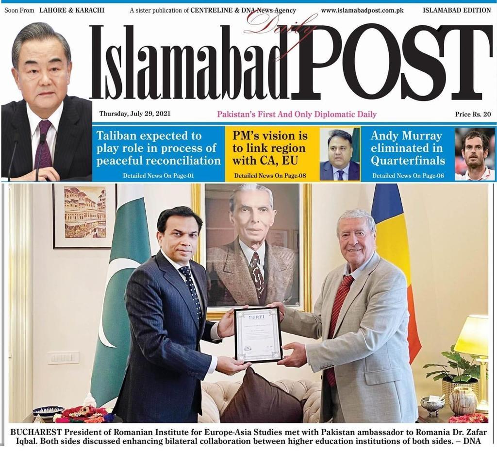 Ambassador (p) Savuica, President & Founder of IRSEA, Makes Headlines in the Islamabad Post