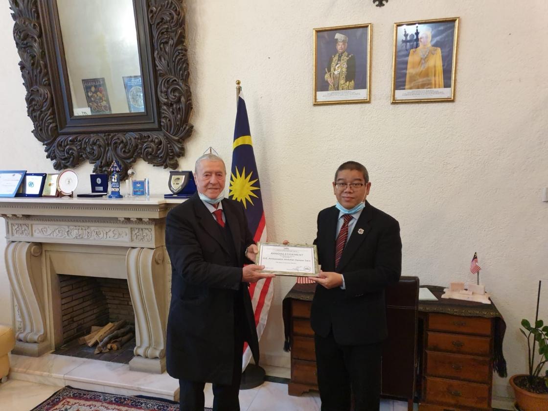 IRSEA grants Honorary Membership Award to Malaysian Ambassador Abdullah Zawawi bin Tahir